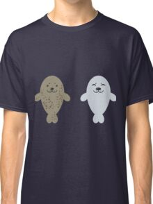 cute seal and fish in water Classic T-Shirt
