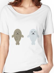 cute seal and fish in water Women's Relaxed Fit T-Shirt