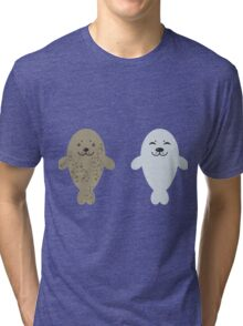 cute seal and fish in water Tri-blend T-Shirt
