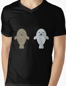 cute seal and fish in water Mens V-Neck T-Shirt