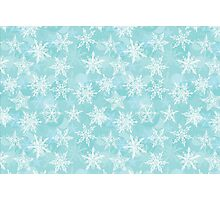 winter background with white snowflakes Photographic Print