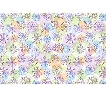 pattern with purple snowflakes on light background Photographic Print