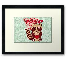 cartoon raccoon. I love You.  Framed Print