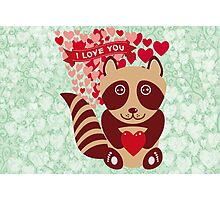cartoon raccoon. I love You.  Photographic Print