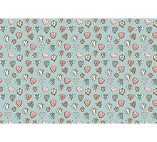 pattern with hearts. Blue, pink, brown Photographic Print