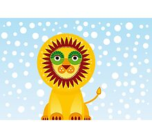 Funny cartoon lion and sky background.  Photographic Print