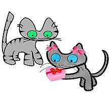 Two Cats On ValentinesDay Photographic Print