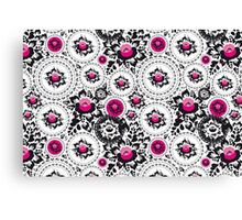 Vintage shabby Chic pattern with Pink and Black flowers  Canvas Print