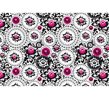 Vintage shabby Chic pattern with Pink and Black flowers  Photographic Print