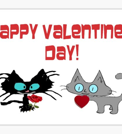 Cats Wish On Valentines Day Sticker