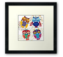 bright colorful owls on black background Framed Print