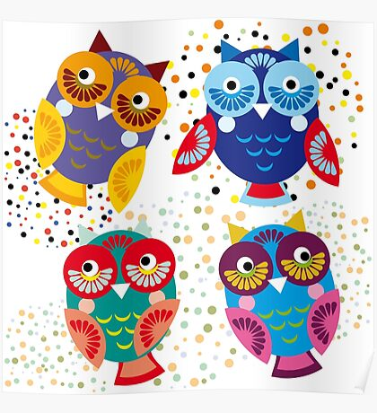 bright colorful owls on black background Poster