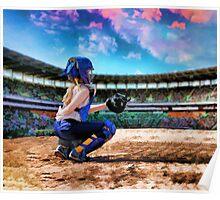 Softball Catcher And Stadium Painting Poster