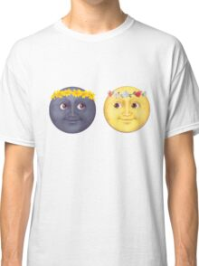 Moon and Sun Emoji Flower crown. Classic T-Shirt