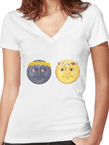 Moon and Sun Emoji Flower crown. Women's Fitted V-Neck T-Shirt