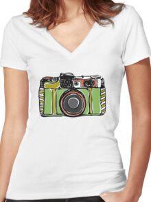 Vintage film camera big Women's Fitted V-Neck T-Shirt