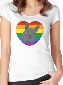 Gay pride, French Bulldog design Women's Fitted Scoop T-Shirt