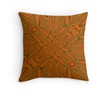 Autumnal Leaves Red Green and Amber Abstract Kaleidescope Throw Pillow