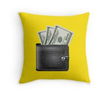 wallet with money Throw Pillow