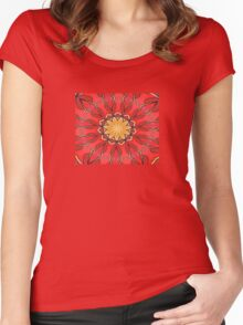 Ochre and Red Abstract Kaleidoscope Women's Fitted Scoop T-Shirt