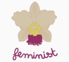 Feminist - Yellow and Pink Orchid Baby Tee