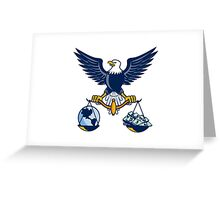 Bald Eagle Hold Scales Earth Money Retro Greeting Card