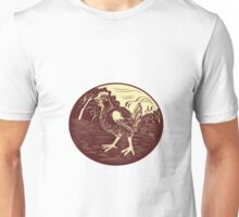 Hen Farm Oval Woodcut Unisex T-Shirt