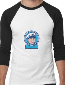 Sea Captain Smoking Pipe Circle Retro Men's Baseball ¾ T-Shirt