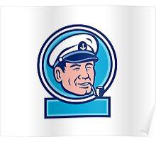 Sea Captain Smoking Pipe Circle Retro Poster