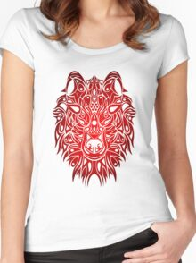 Wolf Head Red  Women's Fitted Scoop T-Shirt