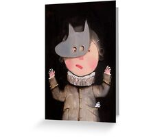 Baby vintage playing in mask painting Greeting Card