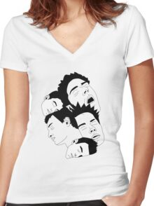 'Sleepy Heads' design by LUCILLE Women's Fitted V-Neck T-Shirt