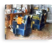 Barber Chair With Orange Barber Cape Canvas Print