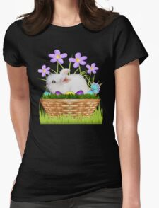 Bunny in a basket Womens Fitted T-Shirt