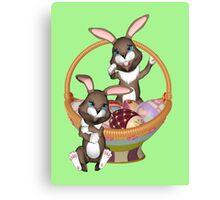 Cute Easter bunnies Canvas Print