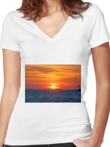 Slipping Through The Clouds Women's Fitted V-Neck T-Shirt
