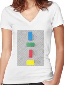 Graphic colour blocks .2 Women's Fitted V-Neck T-Shirt