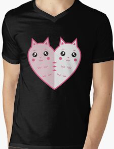 Cute cat-heart Mens V-Neck T-Shirt