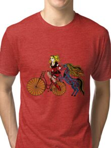 Steampunked bike, unicorn & lady Tri-blend T-Shirt