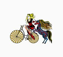Steampunked bike, unicorn & lady Unisex T-Shirt