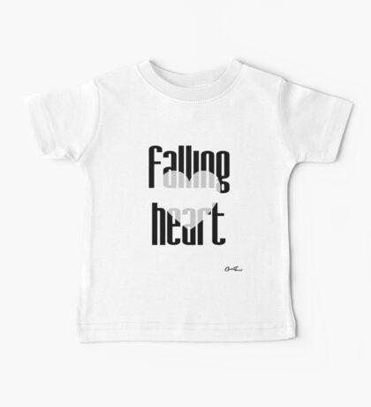 Heartful - Falling Heart in Black on White Baby Tee