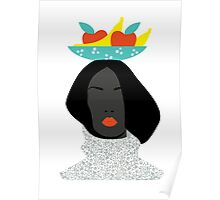 digital fashion woman in banana hat Poster