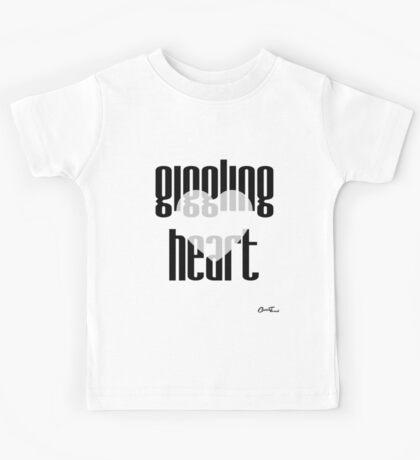Heartful - Giggling Heart in Black on White Kids Tee