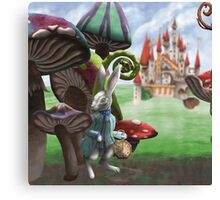 White Rabbit in the Wonderland Toadstool Forest Canvas Print