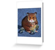 Hamster Playing with Marbles, Colour Pencil Art Greeting Card