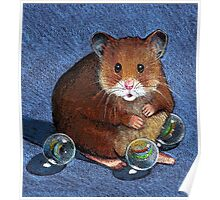 Hamster Playing with Marbles, Colour Pencil Art Poster