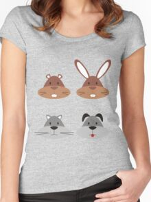 Animal Heads Women's Fitted Scoop T-Shirt