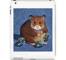 Hamster Playing with Marbles, Colour Pencil Art iPad Case/Skin