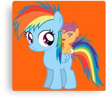 Baby Scootaloo And Rainbow Dash Canvas Print