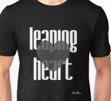 Heartful - Leaping Heart in White on Black Unisex T-Shirt